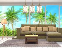 客厅的家具与热带风光高清图片