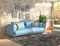 客厅沙发茶几与落地灯高清图片