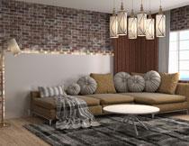 沙发与落地灯吊灯茶几摄影高清图片