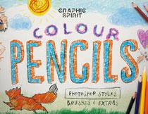 手绘风格的彩色铅笔画字体PS样式