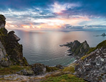 大海与天边的霞光摄影高清图片