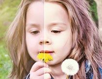 儿童外景照片暖色艺术效果PS动作