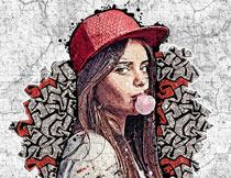 人像添加手绘和街头涂鸦效果PS动作