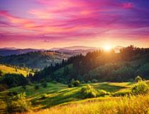 树木山峦与瑰丽的云彩高清图片