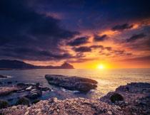 傍晚时分海景风光摄影高清图片