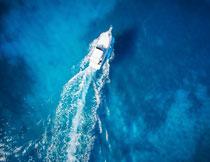 拖出长长浪花的游艇摄影高清图片