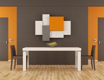 餐厅桌椅摆放效果设计高清图片