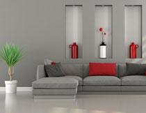 沙发抱枕与绿叶植物等高清图片