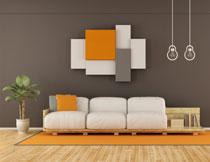 客厅沙发绿植摆放效果高清图片