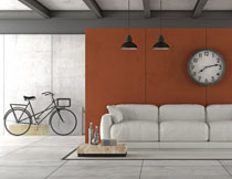 房间吊灯沙发与自行车高清图片