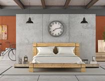 卧室吊灯挂钟与双人床高清图片