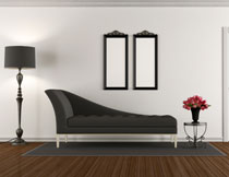 黑色沙发与落地灯摄影高清图片