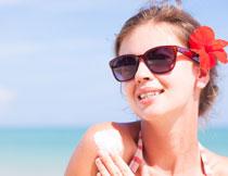 防晒产品美女模特摄影高清图片