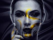 金色花纹装饰的人像彩绘PS动作