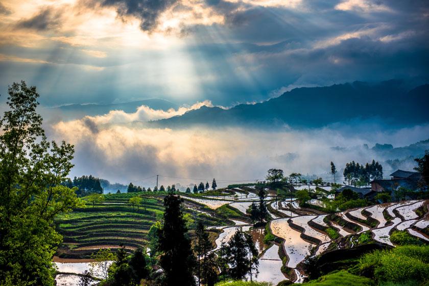 鸟瞰俯瞰摄影高清素材大图图片 素材描述: 梯田与云雾缭绕的远山高清
