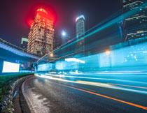 长曝光效果的城市夜景高清图片