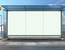 城市公交站台空白广告高清图片