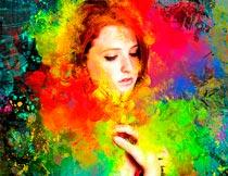 彩色油漆喷溅背景效果PS动作