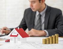 图纸上的房屋模型创意高清图片