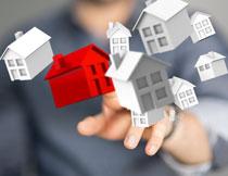 漂浮在空中的房屋模型创意图片