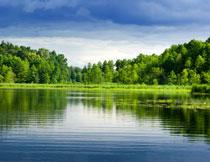 蓝天白云湖泊树林摄影高清图片