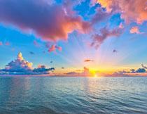 黄昏夕阳海天一色摄影高清图片