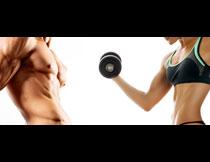 做体能训练的男女人物高清图片