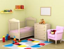 房间儿童床与沙发斗柜高清图片