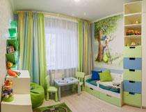 清新绿色儿童房间布置高清图片