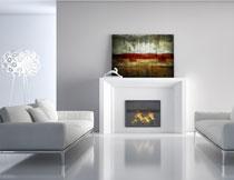 房间沙发装饰画与壁炉高清图片