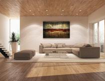 宽敞房间沙发挂画布置高清图片