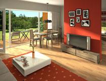 别墅客厅桌椅与电视机摄影图片