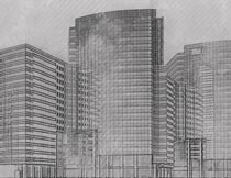 黑白建筑物素描手绘效果PS动作