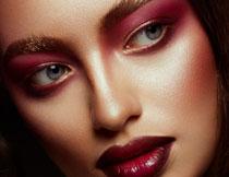 修眉妆容美女人物摄影高清图片