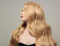 昂起头的金发美女摄影高清图片