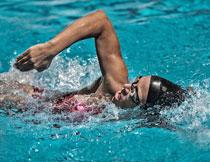 在游泳池中的游泳人物高清图片