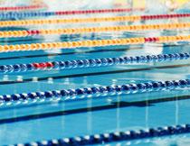 布置了泳道的泳池摄影高清图片