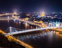 城市大桥夜景鸟瞰摄影高清图片
