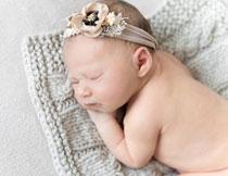 在毛衣上睡着的小宝宝高清图片