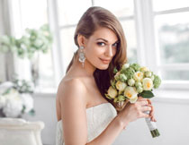 面带着微笑的新娘摄影高清图片
