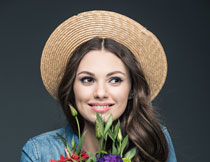 戴草帽的长发美女摄影高清图片