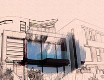 建筑物手绘草图效果PS中文动作