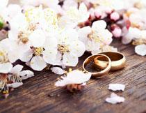 鲜花与金色的戒指摄影高清图片