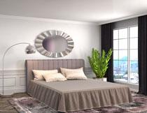 卧室落地灯双人床渲染高清图片