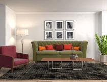 客厅挂画沙发家具陈设高清图片