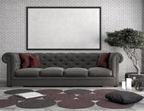 沙发盆栽与装饰画主题高清图片