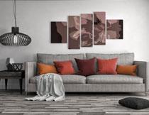 沙发灯具与装饰画摄影高清图片