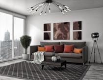 客厅沙发与百叶窗摄影高清图片