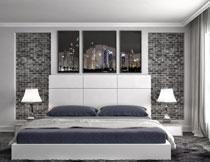 卧室床铺台灯照明效果高清图片