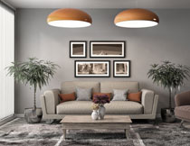 沙发吊灯与茶几等摄影高清图片